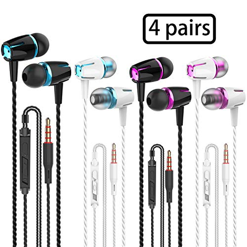 VPB Earbud Headphones with Remote & Microphone, in Ear Earphone Stereo Sound Noise Isolating Tangle Free for iOS and Android Smartphones, Laptops (Mixed Color 4 Pairs)