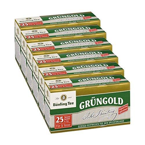 Bünting Tee Grüngold, 25 Tassenbeutel 6er Pack