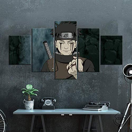 SINGLEAART Leinwanddrucke,5 Teilige Leinwand,5 Stück Wandbild,Wohnzimmer Dekoration,Modular Wandkunst,Brettmalerei,Geburtstagsgeschenk,Uchiha Shisui,Cartoon Naruto,100Cm×50Cm,Mit Rahmen
