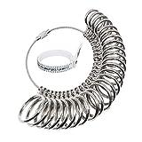 NIUPIKA Set di misuratori per anelli da donna e uomo, taglia UK A-Z, in metallo e Metallo, colore: Argento, cod. HBM-01113