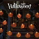 Halloween String Lights, Battery Operated 30 Led 11.5Feet 3D Pumpkin Halloween Lights with 2 Light Modes for Outdoor Indoor Christmas Party Decorations
