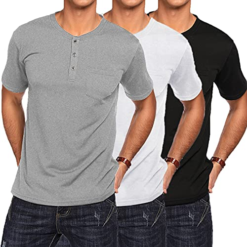 COOFANDY - Camisetas de manga corta para hombre (3 unidades)