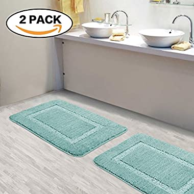 Flamingo P Kitchen Rugs and Bathroom Mats Sets Ultra Water Absorbent Super Soft Plush 17 By 24 Inch Bath Rug 2 Pieces Machine Washable Rug for Bathroom Bedroom Use, 17 x 24 , Eggshell Blue
