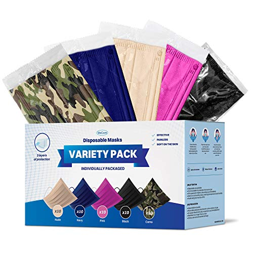 WeCare Disposable Face Mask Individually Wrapped - 50 Variety Color Pack - 3 Ply