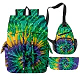 QIANJINGCQ New Tie-Dye Men's and Women's 3D Digital Printing Oxford Cloth Travel Backpack Set Backpack