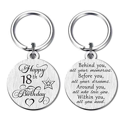 18th Birthday Gifts for Teen Girls Boy, Happy 18 Year Old Birthday Keychain for Women Men