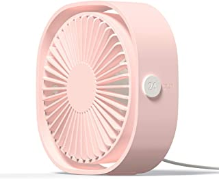 Simpeak Mini USB Desk Fan Cooling Quiet Portable Pink USB Powered ONLY (No Battery), 3 Speed Setting 360° Adjustable Swive...