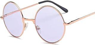 FJCY - Gafas de Sol Redondas de Color océano Redondo para Hombre Gafas de Sol Redondas de Metal para Hombre Gafas Retro Gafas de Sol Uv400 Mujer-Xyy703-C2