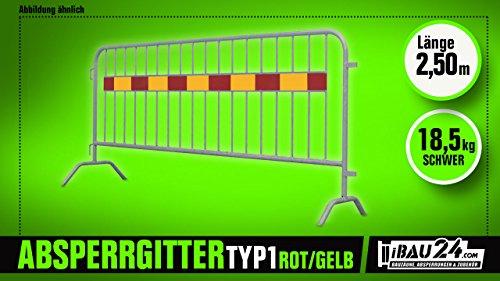 Afsluitrooster - personenrooster & demogaas voor evenementen - 2,5 x 1,10 m (L x H), met knop rood-geel type 1