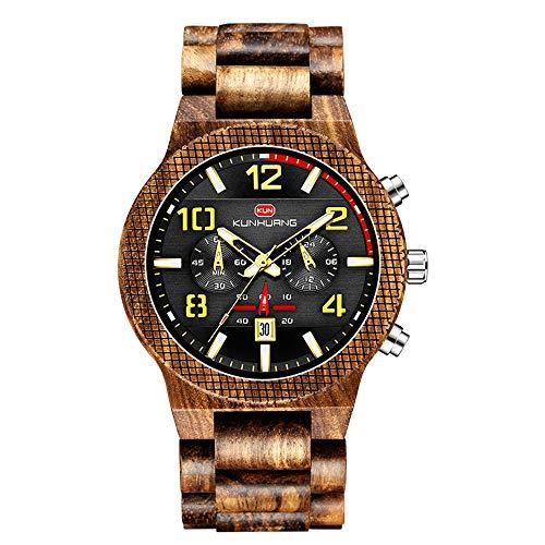 HUA-Watch Reloj De Madera Esfera Grande, Reloj Deportivo Multifunción Relojes De Madera Madera Zebra