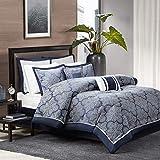 Madison Park Medina 8 Piece Jacquard Comforter Set, Navy, King