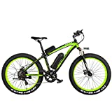 LANKELEISI XF4000 Elite 1000W Potente Bicicleta eléctrica, 26 Pulgadas Fat Bike, Suspension Fork, MTB Snow Bike, Batería de Litio E Bike (Negro Verde, 1000W 10Ah)