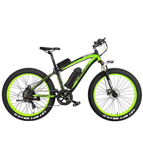 LANKELEISI XF4000 26 Inch Pedal Assist Electric Mountain Bike 4.0 Fat Tire Snow Bike 1000W/500W Strong Power 48V Lithium Battery Beach Bike Lockable Suspension Fork(Black Green, 1000W 10Ah)