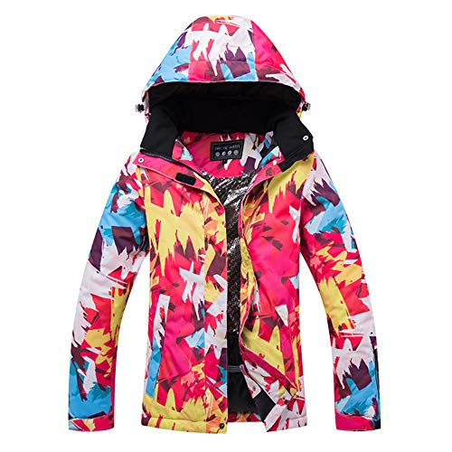 YOJOLO Bunt Bedruckte Damen Skijacke Oberbekleidung Wasserdicht Winddicht Thermo Mountain Windbreaker Mantel,C,L