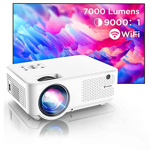 Bomaker Proiettore WiFi Full HD, Supporto Nativo 1080P Full HD, Videoproiettore 7000 Lm Wireless, Nativo 800P, 300' Compatibile Android/Win10/Laptop/HDMI/Fire TV Stick/Chromcast, C9