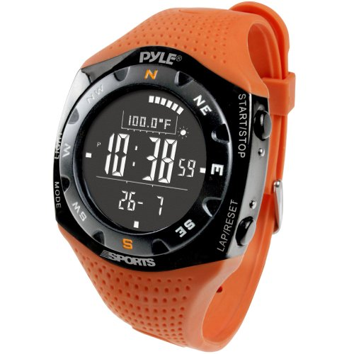 Multifunction Skiing Sports Training Watch - Smart Classic Fit Sport Digital Fitness Gear Wrist Tracker w/ Chronograph, Timer, Alarm, Altimeter, Barometer, For Men and Women - Pyle PSKIW25O (Orange)