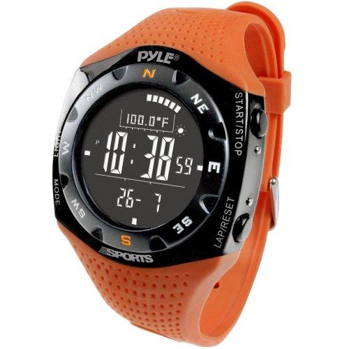 Pyle Ski-Meister V Professionelle Ski-Uhr mit 20 Logbuch Wettervorhersage Barometer, Orange, PSKIW25O