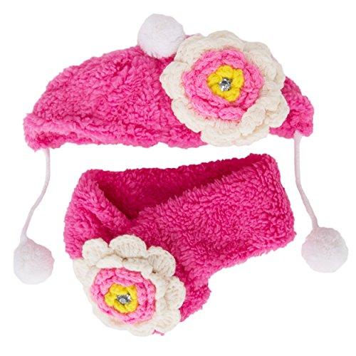 CueCue huisdier pluizige huisdier bloem bonie en sjaal, L, Roze/Wit
