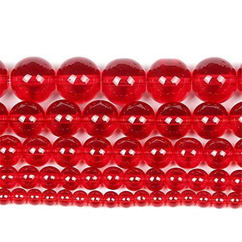 Piedra natural liso rojo cristal encanto redondo cuentas sueltas para hacer joyas costura pulsera DIY Strand 4-12 Mm H7408 10mm aproximadamente 38pcs