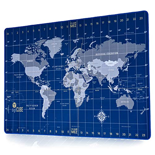 digitCUBE Vade de escritorio con diseño de mapamundi y brújula en alemán, 90 x 40 cm, color azul