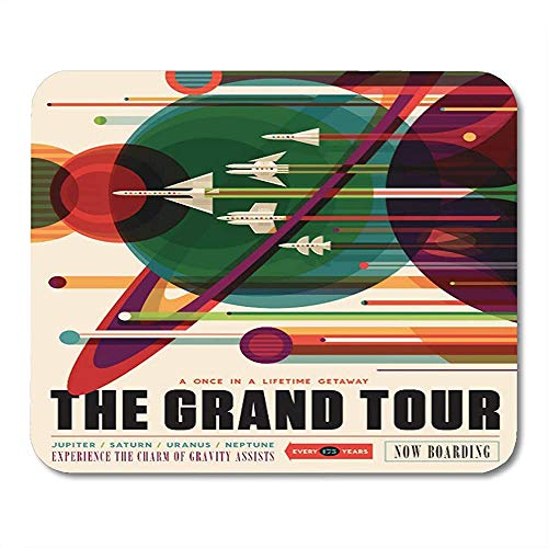 Mousepad Exoplanet Grand Tour Retro Nasa Travel Planet Mousepad Werk Muis Mat Game Speciale Kleurrijke School Gedrukt Office Anti-slip 25 X 30 Cm