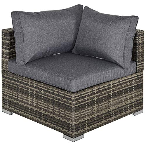 Outsunny PE Rattan Wicker Corner Sofa Garden Furniture Single Sofa Chair w/Cushions, Deep Grey