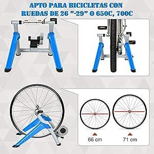 "HOMCOM Entrenador de Bicicleta Rodillo para Bicicleta Plegable Portátil con Resistencia Magnética Ajustable de 8 Niveles para Ruedas de 650C, 700C o 26"" - 29"" 77x56x47,5 cm Azul"