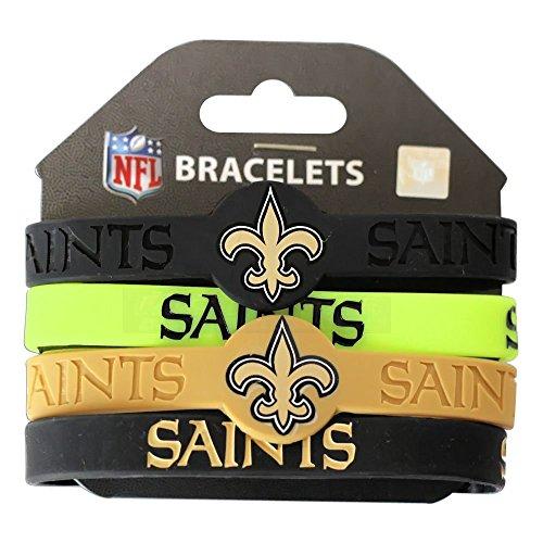NFL New Orleans Saints Silicone Bracelets, 4-Pack