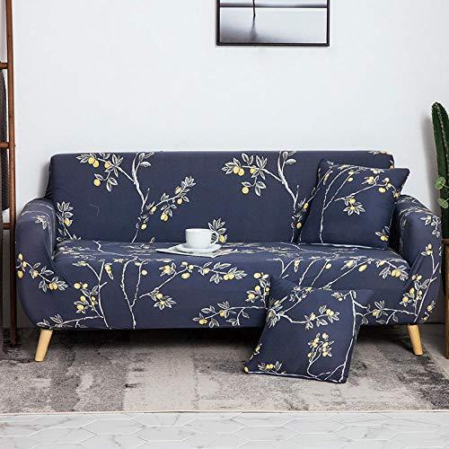 QJHDM Funda para Sofá 1 2 3 4 Plazas Arbol Azul Universal Antideslizante Elástica Extensible Fabric Protector Cubierta Cubre De Sofá Fundas 235-300Cm