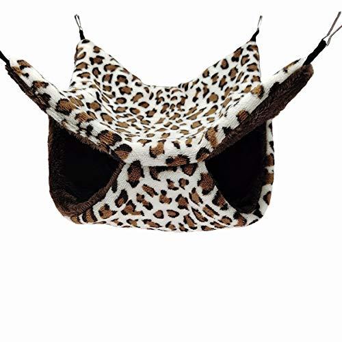 ELEpure - Hamaca de leopardo para animales pequeños - Cama colgante de peluche para dormir caliente - Accesorios para ardilla, gerbola Chinchilla Furet cobaya (34 x 34 cm)