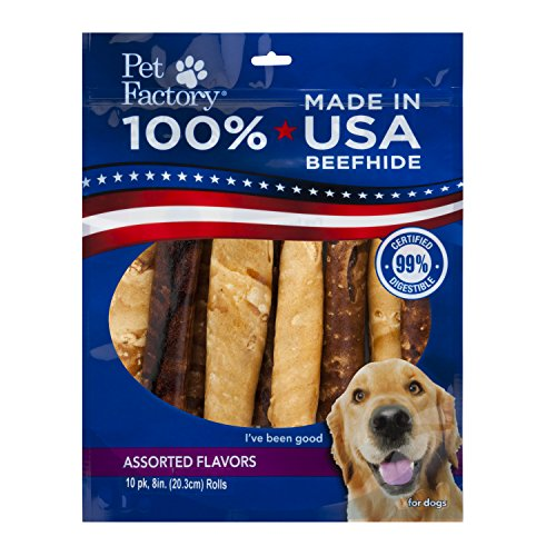 Pet Factory 78258 Made in USA Value Pack Assorted Flavored (Beef & Chicken) 8-9' Rawhide Chews for Dogs