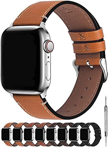 chenghuax Compatible con Las Correas de Apple Watch 44mm 38mm 42mm 40mm, Banda de Cuero de la Pantorrilla Compatible con la Serie iWatch SE 6 5 4 3 2 1 Correa