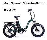SOHOO 48V500W12AH E-Bike 20' Folding Fat Tire Electric Bike Adult Mountain Bicycle Foldable Snow Electric Bicycle Beach Cruiser