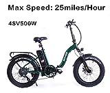 SOHOO 48V500W12AH E-Bike 20' Folding Fat Tire Electric Bike Adult Mountain Bicycle Foldable Snow...
