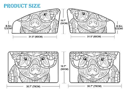 4-teilige Schirme für Autofenster Malvorlagen für Erwachsene Pig Style Art Auto Windschutzscheibe Sonnenschutz Magnetvorhang Heller Sonnenlicht-, Wärme- und UV-Strahlenschutz für Ihr Kind und Ihre Ki
