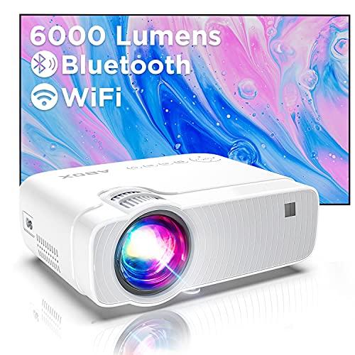 Proiettore Wifi, Mini Videoproiettore Portatile, Luminosità 6000, Supporta 1080p Full HD 300  , ABOX Proiettore Wifi Compatibile Android,Laptop,PS4,Mac, Ideale per Home Cinema