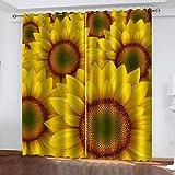 FOssIqU Cortinas Impresas en 3D 55x72inch Flores Amarillas de Girasol Sala de Estar Dormitorio Sala de niños Cortina Decorativa 3 Cortina de impresión Fibra de poliéster