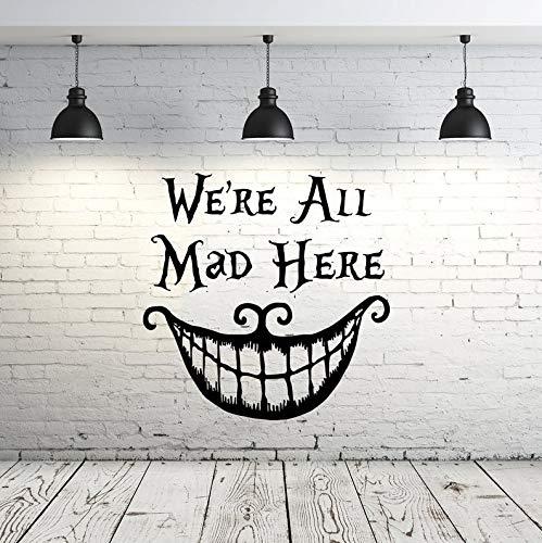 CECILIAPATER Ceciliapator ZX69 Wandtattoo Zitat We Are All Mad Here Zitat Grinsekatze Sprüche Kinderzimmer Dekor