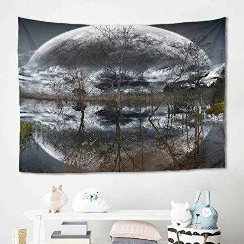 Gamoii Árboles, luna, río, lago, reflexivo, tapiz de pared, tapiz, manta de picnic, toalla de playa, meditación, yoga, colchonetas multicolor, decoración del hogar, mantel blanco, 100 x 150 cm