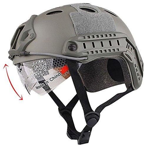 H mundo UE Airsoft táctico Estilo Militar SWAT combate PJ tipo Casco Fast con gafas de protección para los ojos Paintball, hombre, FG
