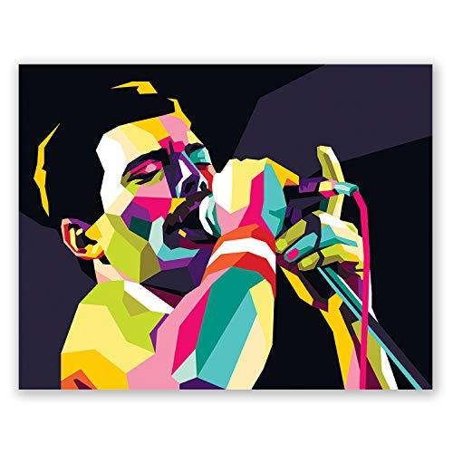 Póster de Freddie Mercury – Retrato de arte pop – Impresión para decoración de recámara en casa – Regalo para hombres y mujeres, Contemporáneo, 27,94 x 35,56 cm (11 x 14 pulg.)
