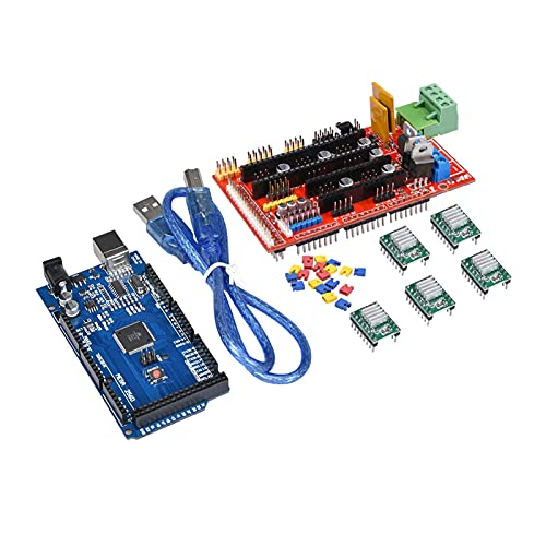 GOUJI Liupin Store Impresora 3D Piezas Mega 2560 R3 + RAMPS 1.4 Controlador + 5pcs A4988 Módulo de Conductor Paso a Paso Rampas 1.4 Kit para Arduino DIY Impresora 3D Fácil de Instalar