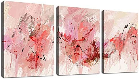 tigeridge Abstract Wall Art Pink Canvas Pictures Abstract Contemporary Canvas Artwork for Girl product image