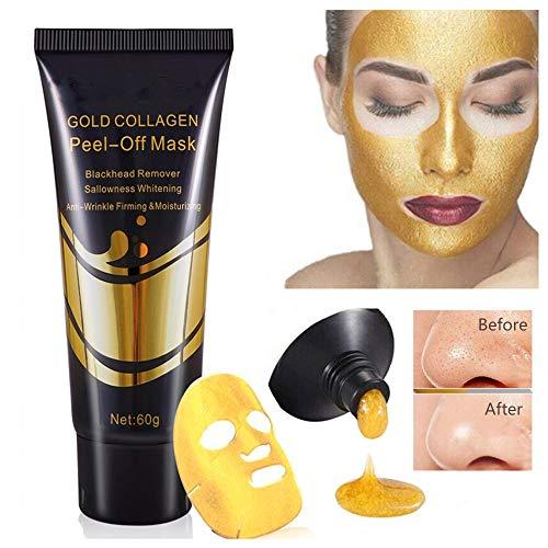 Mascarilla facial colágeno dorado 24 quilates, Máscaras removedoras espinillas, reafirmante blanqueadora antienvejecimiento para el cuidado la piel, poros limpieza profunda para mujeres niñas (1pcs)