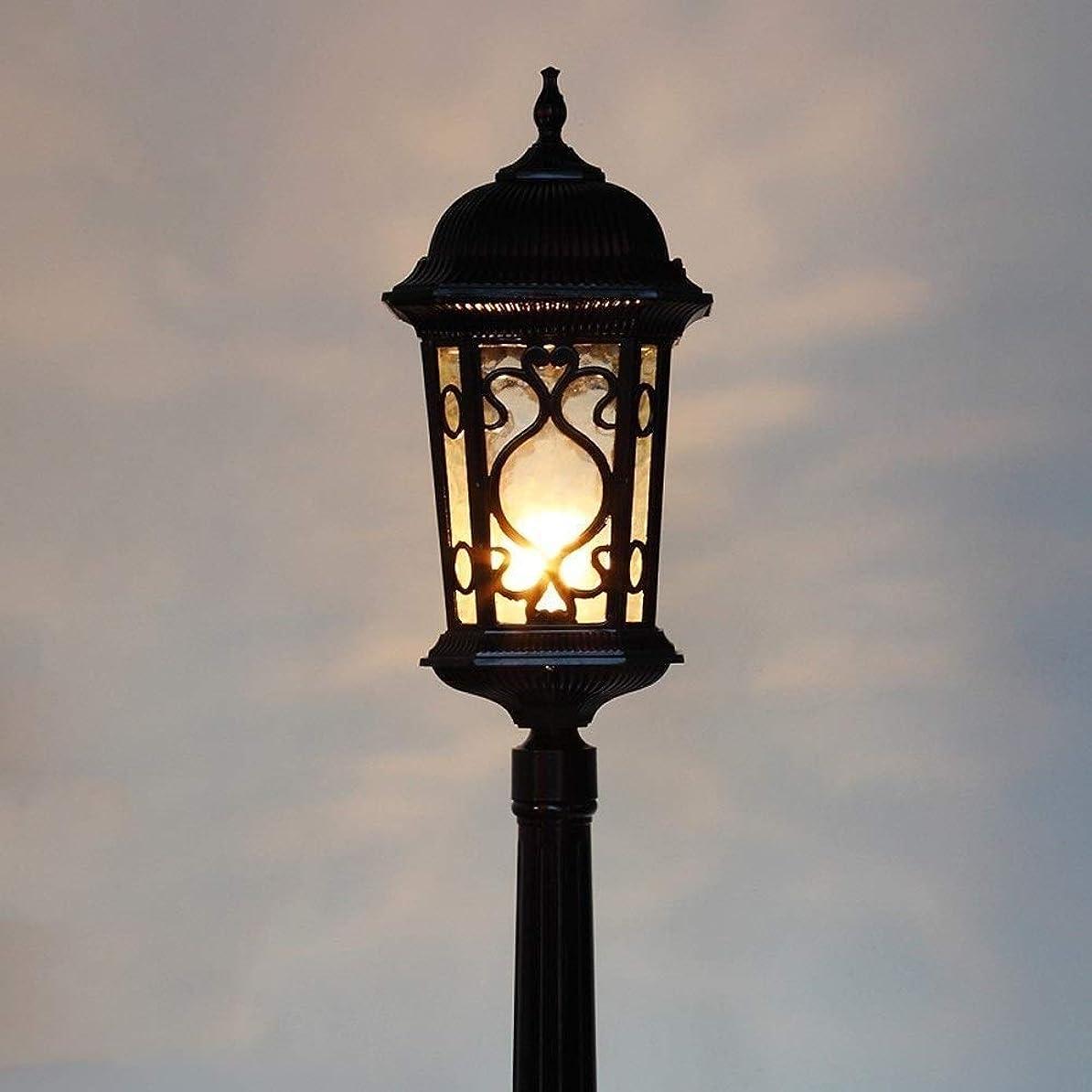 誠実さ登山家デッキ屋外ランプポストライトアルミニウム防水屋外街路灯コラムランプ、透明なガラスパネル付きのクラシックな街灯柱、ヴィラの裏庭、パティオ、庭、歩道、中庭、出入り口用 ポールライト