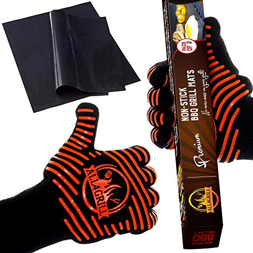 All4Grill XL Extreme-Heat Nonslip BBQ Grill Gloves and Mat Set