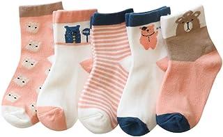 calcetines para bebé, calcetines de algodón suave bebé niña 5 pares