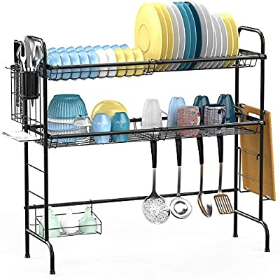 Over the Sink Dish Drying Rack, Veckle Large Dish Rack Easy Install Dish Drainer Non-Slip 201 Stainless Steel Dish Dryer Utensil Holder Cutting Board Holder Kitchen Counter Shelf Storage Rack from Veckle