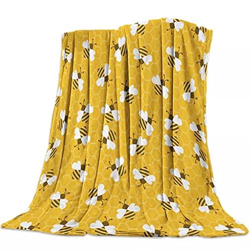 Aiglen Ruche d'abeille mignon insecte dessin animé Animal flanelle polaire lit couverture couvre-lit couvre-lit couvre-lit doux léger chaud confortable couvertures (Color : B, Size : 120x200cm)