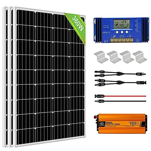 ECO-WORTHY Kit Inversor Solar 360W: 3 Paneles Solares 120W + 1 Controlador de Carga 60A + Inversor 600W 12V + Accesorios de Montaje para Caravana, RV, Barco, Sistema Fuera de la Red